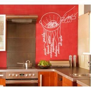Стикер за стена | Картинки | Ръка с цедка за спагети, Персонализиран