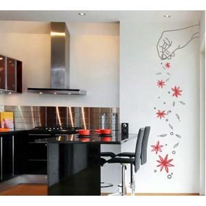 Стикер за стена | Цветя  | Ръката, която ръси цветя