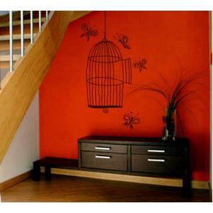 Стикер за стена   Птици, Пеперуди    Клетка с пеперуди