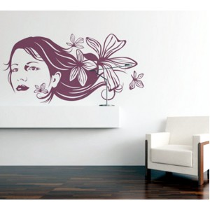 Стикер за стена | Лице и ръце  | Лице с цветя