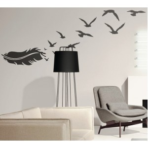 Стикер за стена   Птици, Пеперуди    Перо с птици, Вариант
