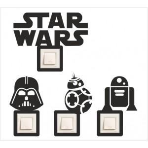 Стикер за стена | Ключове, Контакти  | Модел 40221, Star Wars, Комплеккт от 4 дизайна