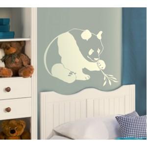 Стикер за стена | Диви животни  | Панда 05, С бамбуково клонче