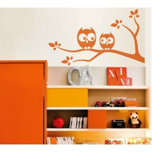 Стикер за стена | Детска стая  | Две бухалчета на клон