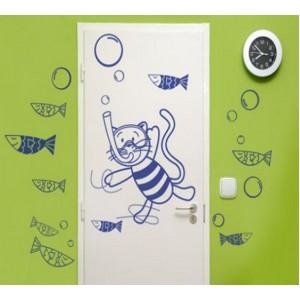 Стикер за стена | Детска стая  | Котка 23, Водолаз