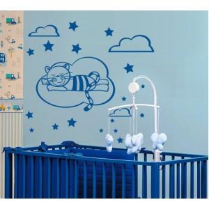 Стикер за стена | Котки  | Котка 24, Сладки сънища