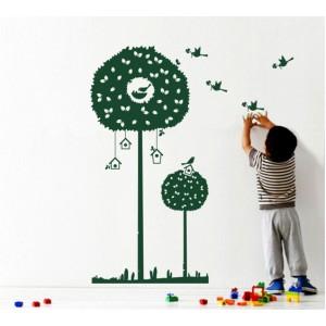 Стикер за стена   Птици, Пеперуди    Дърво с птици