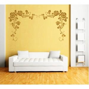 Стикер за стена | Орнаменти  | Цветя 17,  Рози в ъгъла