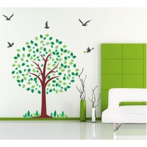 Стикер за стена   Детска стая    Дърво 10619, С птици