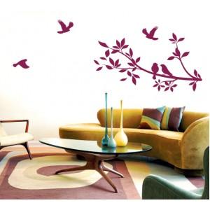 Стикер за стена | Птици, Пеперуди  | Клон с птици