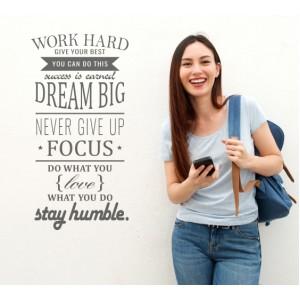 Стикер за стена | За мотивация | Работи здраво, мечтай смело
