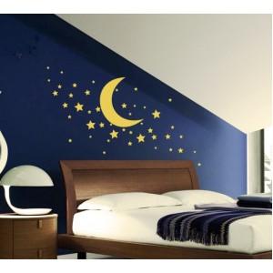 Декорация за стена | Детска стая  | Луна със звезди