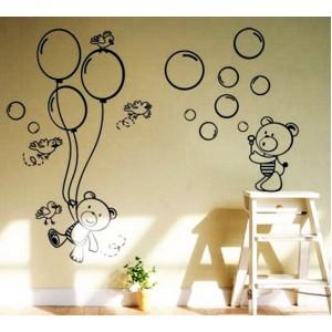 Стикер за стена | Птици, Пеперуди  | Мечета 01, С балони и мехурчета