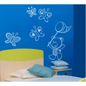 Стикер за стена | Птици, Пеперуди  | Мечета 04, Гони пеперуди