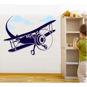 Стикер за стена | Детска стая  | Самолетче 01, В облаците