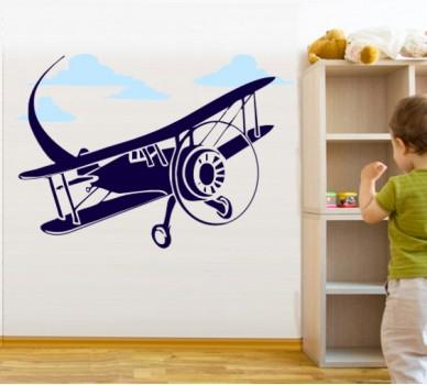 Стикер за стена Самолетче 01, В облаците