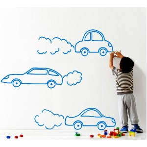Стикер за стена | Коли  | Три коли в движение