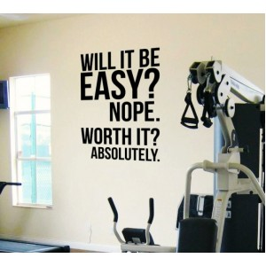 Стикер за стена | Фитнес | Дали ще е лесно?
