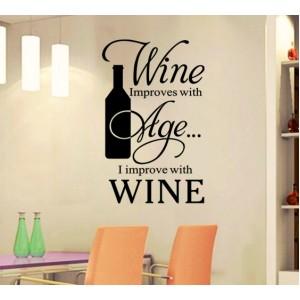 Стикер за стена | Надписи | Виното се подобрява с възрастта