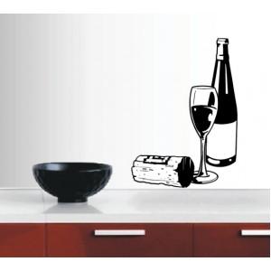 Стикер за стена | Картинки | Композиция с бутилка вино