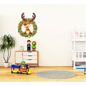 Стикер за стена | Коледни  | Еленче с венец