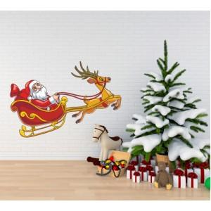 Стикер за стена | Коледни  | Дядо Колед с еленче