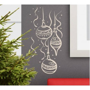 Стикер за стена | Коледни  | Топки за елка, композиция