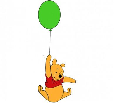 Стикер за стена Мечо Пух, Лети с балон 46418