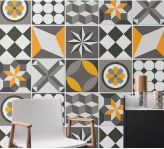 Стикер за стена Ретро геометрични, 16 бр.