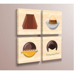 Стикер за стена | За кухня, Дърво | Шоколадови бонбони - комплект от четири