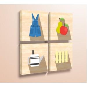 Стикер за стена | За кухня, Дърво | Градински аксесоари - Комплект от четири