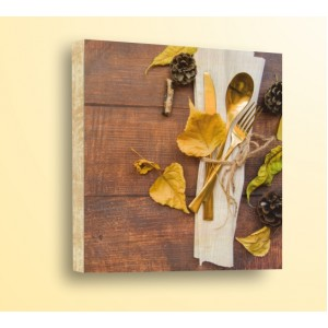 Декорация за стена | Дърво | Златни прибори и листа
