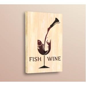 Стикер за стена | За кухня, Дърво | Риба вино