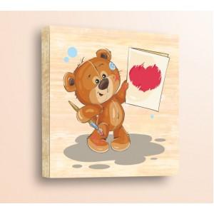 Стикер за стена | Детски, Дърво | Мече с четка, Дърво