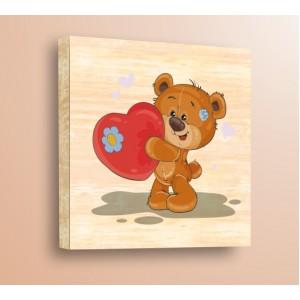 Стикер за стена | Детски, Дърво | Мече със Сърце, Дърво