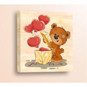Стикер за стена | Детски, Дърво | Мече с кутия, Дърво