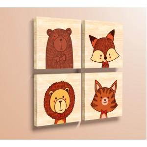 Декорация за стена | Дърво | Диви Животни, Комплект от 4
