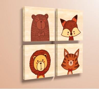 Стикер за стена Диви Животни, Комплект от 4