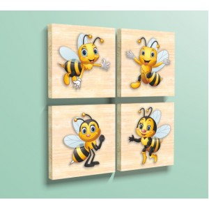 Декорация за стена | Дърво | Пчелички, Комплект от 4