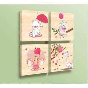 Декорация за стена | Дърво | Животинки 6101143, Комплект от 4