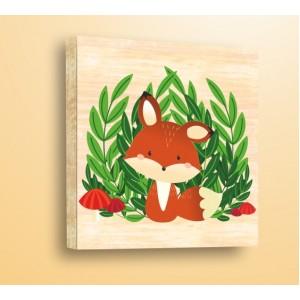 Стикер за стена | Детски, Дърво | Лисиче с Гъби