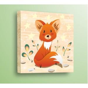 Стикер за стена | Детски, Дърво | Лисиче с цветя