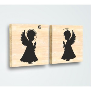 Ангелчета Комплект от 2, Дърво