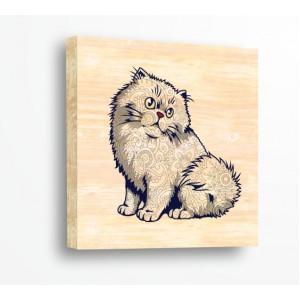 Декорация за стена | За ценители, Дърво | Котка С Орнаменти 910004, Дърво