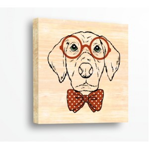 Декорация за стена | За ценители, Дърво | Куче 910005, С Очила
