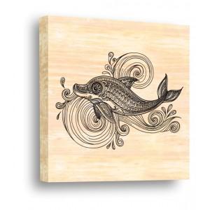 Делфин 910093, Картина върху дърво