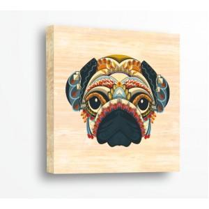 Декорация за стена | За ценители, Дърво | Куче 910111, Индиански Мотиви, Картина върху дърво